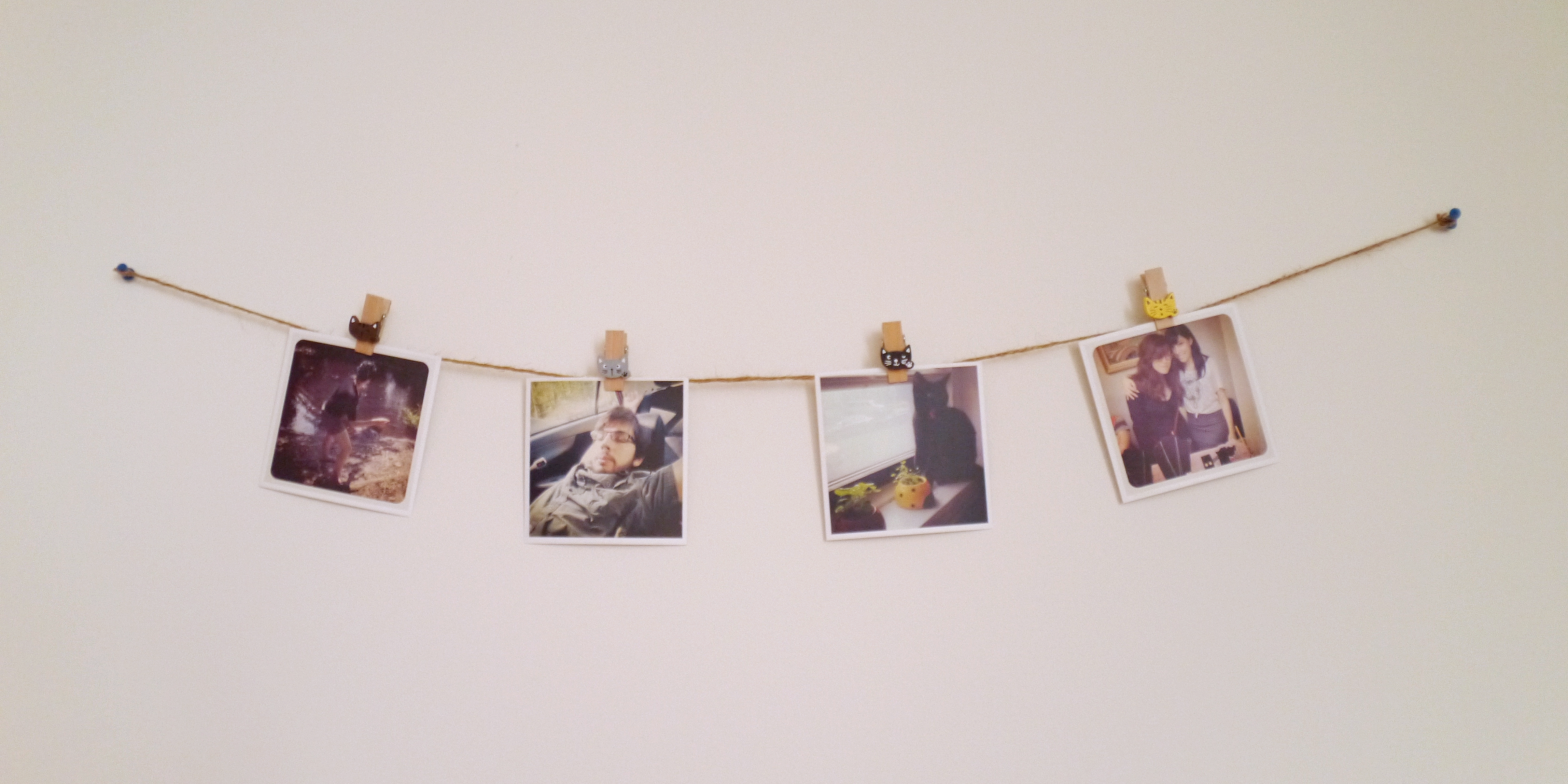Easy diy polaroid bunting custom photo garlands tutorial bee 39 s beautiful world - Picture wall decor ...
