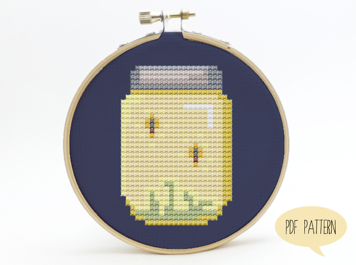 Firefly Jar Cross Stitch Pattern Free Downloadable Pdf Bees